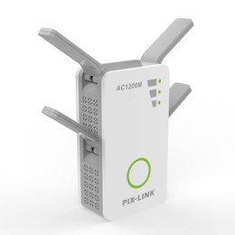 Wholesale dual band routers - Wireless AC Dual Band 1200M 2.4Ghz 5GHz Mini Router Wifi Range Repeater With 4 External Antennas US EU UK AU Wall Plug