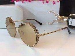 Wholesale Cat Eye White Stone - Women 268 S Round Stones Sunglasses Gold Gold Mirrored 2018 Designer SONNENBRILLE Sun Glasses Eyewear New with Box