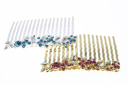 Wholesale Butterfly Crystal Hair Clip - 1pc Rhinestone Flower Hairpin Brides Hair Pins Clip Crystal Hair Combs Butterfly Wedding Hair Jewelry Accessories MF01