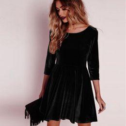 f08e9117acb Sexy Velvet Women Dresses Elegant 2018 Long Sleeve Autumn Bodycon Vestidos  Vintage Women O-neck Party Clubwear Dress Plus Size
