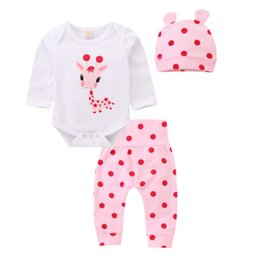polka dot jumpsuit toddlers Promo Codes - 3PCS Toddler Baby Girls Boy Deer Romper Long Sleeve Jumpsuit Polka Dot Long Pants Hat Clothes Outfits Set