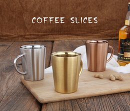 rose mugs wholesale Promo Codes - Wholsale Silver Rose Gold Wine Beer Cups Household Coffee Cup 304 Double Walls Stainless Steel Mugs Water Mugs for Bar Party Milk Mugs