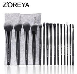 Ensemble de brosse de maquillage zoreya en Ligne-ZOREYA 15pcs pinceaux de maquillage blush fard à paupières Tool Set Rayon noir manche en bois brosse de maquillage Set a934