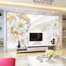mural paper rolls Australia - Custom Photo Wallpaper For Walls Roll 3D Embossed Flower Modern Simple Living Room TV Background Mural Wall Papers Home Decor