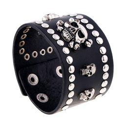 Wholesale mens wide leather cuff bracelets - Black Real Genuine Leather Cowhide Human Skeleton Skull Heads Mens Jewelry 4.5CM Wide Adjustable Cuff Bracelets & Bangles