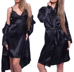 Wholesale Lace Sleepwear Xl - 2018 Sexy Women 3pcs Set Gown Sets Pajamas Sets Women Satin Lace Robe Sleepwear Lingerie Nightdress G-string Robe