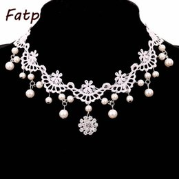Wholesale Victorian Chokers - whole sale1pcs White Lace and Beads Choker Victorian Steampunk Style Gothic Collar Necklace Gift