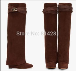Wholesale Boots Celebrities - Wholesale- Hot Selling Women wedge heeled Riding Boots Grey suede leather Knee High Winter Boot Celebrity Shark Lock belt fold over booty