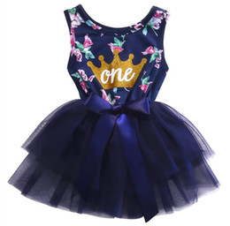 Wholesale Infant Girl Party Dresses - 0-2T Kid Girls Princess Baby Dress Newborn Infant Baby Girl Clothes Purple Floral Crown Print Tutu Ball Gown Party Dresses