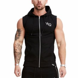 sleeveless zipper hoodie men Promo Codes - 2018 New Mens Sleeveless Sweatshirt Hoodies Top Clothing Hooded Tank Top Sporting Hooded for Men Cotton Solid hoodies