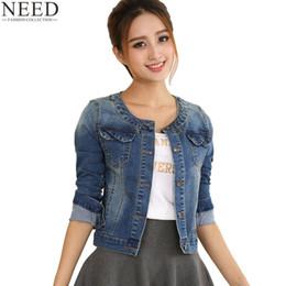 c9248c53657da 2017 Autumn Denim Jacket For Women Plus Size Long Sleeve O-Neck Short Jeans  Jacket Women Denim Coat Ladies Coats Jacket