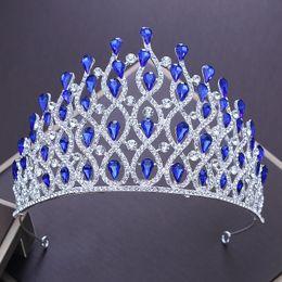 Canada Couronne européenne couronne de diadème de luxe strass luxe bleu / rouge / blanc couronne de cristal princesse Vintage grand bandeau mariage coiffe coiffe supplier red queen crown Offre