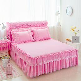 Wholesale Pillowcase Skirt - 3Pcs Girls Lace bed skirt set pillowcases king queen size 1.5x2m 1.8x2m 1.8x2.2m Princess bed set mattress protective cover
