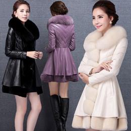 Wholesale korean fashion skirt long - In the long high imitation fox fur fur coat Korean version of the big hair collar was thin pu female leather fashion coat