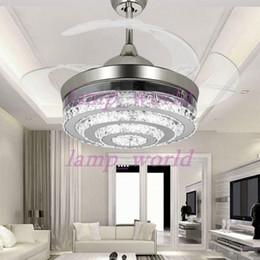 moderne led unsichtbare kristalldeckenventilatoren mit lichtern 42 zoll wohnzimmer rom schlafzimmer faltende deckenventilatoren leuchter mit - Einziehbarer Deckenventilator
