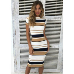 17493caa2a78 hirigin Women Stripe Short Sleeve Ladies Knee Length Dress Plain Jersey  Stretch Bodycon Dress Autumn Warm Basic