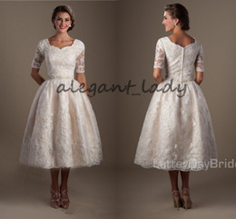 Wholesale Modest Tea Length Wedding Dresses - Vintage1920s Lace Tea Length Modest lds Wedding Dresses With Half Sleeves Puffy A-line Informal Brides Reception Dresses Non White Dress