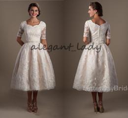 Wholesale White Simple Informal Wedding Dresses - Vintage1920s Lace Tea Length Modest lds Wedding Dresses With Half Sleeves Puffy A-line Informal Brides Reception Dresses Non White Dress