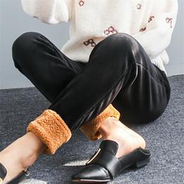 lana di velo Sconti Large Size Velour Plus Velluto imbottito Patchwork lana di agnello donna Pantaloni casual tinta unita Elastico in vita Mujer pantaloni MZ2093