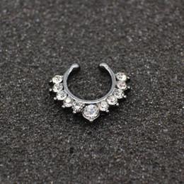 Falso nastro anello nero online-Alta qualità all'ingrosso falso anello naso gioielli in argento oro nero setto falso Piercing clicker clip falso non Body Hoop per le donne
