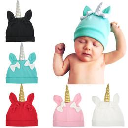 Wholesale Crochet Baby Horns Hat - 5pcs baby unicorn cap Cotton Baby Girls Rabbit Ear Unicorn Horn Hat Nursery Beanie Cap with Bow MZ014