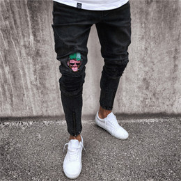 Argentina New Fashion Skinny Jeans Hole Zipper Europa y America Jeans Many Opcional Men's Tight Denim Trousers supplier ripped jeans tights fashion Suministro
