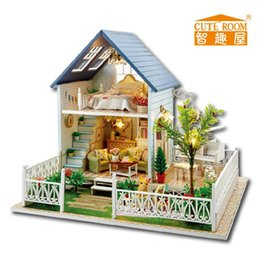 Wholesale Dollhouse Miniature Led Lights - Wholesale-Home Decoration Crafts DIY Doll House Wooden Doll Houses Miniature DIY dollhouse Furniture Kit Villa LED Lights Gift A-030