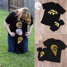 Wholesale Mother Son Clothes - Family matching clothing Mother and son letter Best Friends print T-shirts Short sleeve Tops baby romper 2018 summer Bear print Tees C3833
