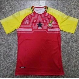 Wholesale Michael Shirts - 2018 World Cup Ghana home jersey Soccer Jersey 18 19 Uniforms Michael Essien GYAN AYEW MUNTARI ASAMOAH men Ghana Football Shirts