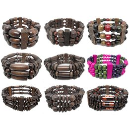 abacus gifts Coupons - Wooden Bead Bracelet Mix 9 Styles Stretch Strands Chain Three Rows Colorful Round Abacus Spike Cylinder Wood Beads Charm Bracelets (JM005)