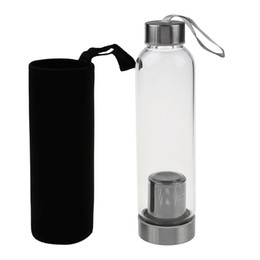 Wholesale Hot Water Hand Warmer - Hot -Glass Sport Water Bottle With Tea Filter Infuser Protective Bag 550ml