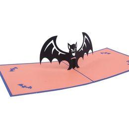 Tarjetas de felicitación hechas a mano de halloween online-Creativo tarjeta de felicitación de Halloween hecha a mano 3D Pop UP postal bat tarjetas postales para amigos regalo de Halloween traje de fiesta favor