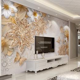 2019 azulejos de baño de mosaico verde Mural de papel pintado personalizado para las paredes del dormitorio 3D joyas de oro de lujo de la mariposa de la flor Fondo Papeles de empapelar Decoración