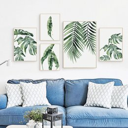 Wholesale pictures office walls - Watercolor Turtle Back Leaf Green Plant Canvas Art Painting Print Poster Picture Wall Sitting room Office Home Decoration Mural