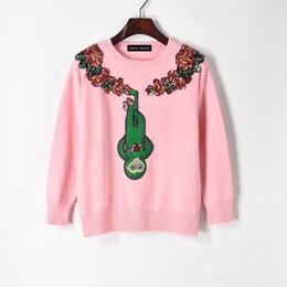 pull cardigan gris en cachemire Promotion 2017 nouveau style de la personnalité des femmes nouveau style collé vert singe lumière fleur rose pull