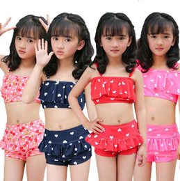 toddler beach set Promo Codes - cute dot girls swimming clothes girls swimwear 2pcs set bikini beach dress bathing suit toddlers girls swimsuits