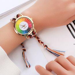 relógio de padrão de cor Desconto Moda Mulheres Relógios Montre Femme Reloj Mujer Cor Gráfico Padrão Tecer Nacional Pulseira de Ouro relógio de Quartzo Relógio Relogio