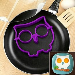 Wholesale Owl Silicone Mold - Owl Shape Fry Egg Mold Novelty Resuable Silicone Omelette Moulds Safe Non Toxic Eggs Ring New Arrival 2 8bha B