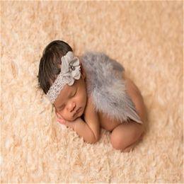 Cute Pink Neonato Vestiti Baby Photography Prop Piuma Angelo Ali Pizzo Fiore fascia Set accessori per foto Ropa De da