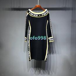 Off ombro vestidos longos fenda on-line-Meninas das mulheres Fora do ombro Maxi vestido midi com mangas compridas Vestido de jerseyi fenda central Equipado magro sexy vestido tons camisa esporte camisola