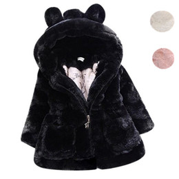 Wholesale Jacket Rabbit Fur Hoods - Cold Winter Baby Girls Clothes Faux Fur infant Coat Rabbit Ears Warm kids Jacket Snowsuit Outerwear
