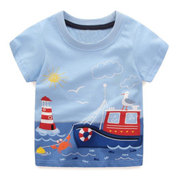 Wholesale Black Fashion Clothing - Boys Summer T Shirts Patterns Printed Fashion Baby Clothing 100% Cotton Tops for Kids Clothes Tees