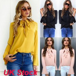 Wholesale E Packet - Women's Clothing Blouses & Shirts Casual Bandage long sleeved shirt chiffon shirt Bow Ruched free shipping use E-PACKET