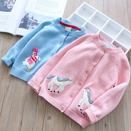 Wholesale princess cardigan - Everweekend Kids Girls Cartoons Embroidered Cardigan Pink Blue Color Lovely Baby Princess Spring Autumn Sweet Knitted Sweater