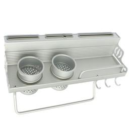 portabiciclette Sconti All'ingrosso-Alluminio lungo Rack di stoccaggio della cucina Pantry Pan Pot Organizzatore Pentole Holder Ganci Spice Stoviglie Scaffale 40-60cm