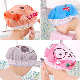 Wholesale rabbit lion - 2018 Cute cartoon shower caps elephant lion rabbit pattern women bath hat lace elastic band caps women shower hair waterproof cap