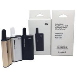 Kit nastro nero per cartuccia online-H6 Starter Kit 350mAh Preriscaldare Batteria a tensione variabile 0,5 ml Nero TH105 Cartucce di vetro ceramica 510 Discussione Vape Pen