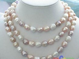 "Wholesale Long Baroque Freshwater Pearl Necklace - NEW long 42"" 8-9mm baroque multicolor freshwater pearl necklace AAA"