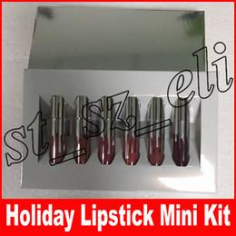 Melhor batom duradouro on-line-Edição de férias mini kit lipgloss matte líquido batom duradouro lip gloss maquiagem 6 pcs melhor presente de natal