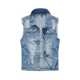 Coletes jeans mens on-line-Mens clothing 2018 primavera dos homens coletes jeans rasgado jeans sem mangas casaco masculino coletes tanque dos homens jaqueta 6xl